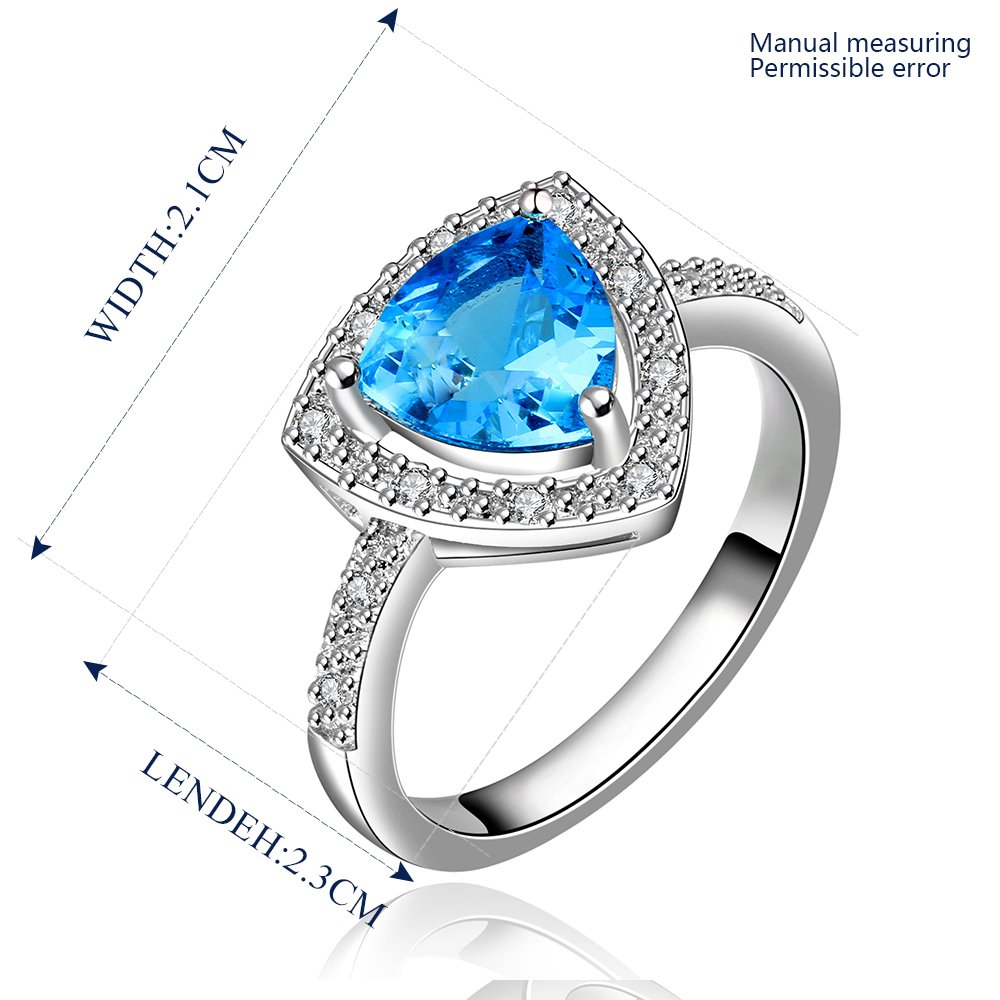 Platinum diamond shaped pure blue zircon luxury ring R006