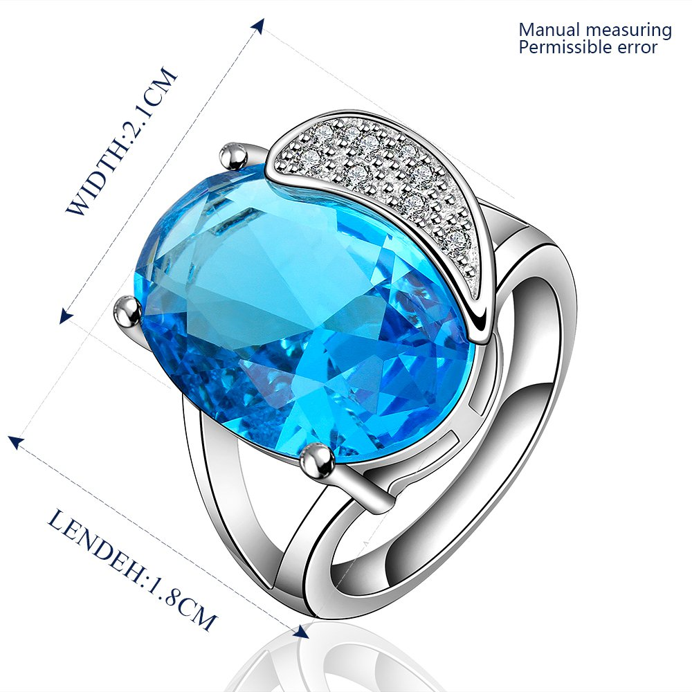 Platinum diamond shaped pure blue zircon luxury ring R011