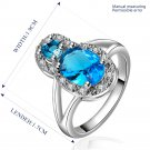 Platinum diamond shaped pure blue zircon luxury ring R013