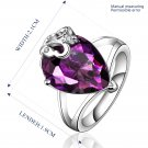 Platinum diamond shaped purple zircon luxury ring R001