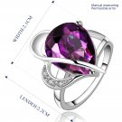 Platinum diamond shaped purple zircon luxury ring R002