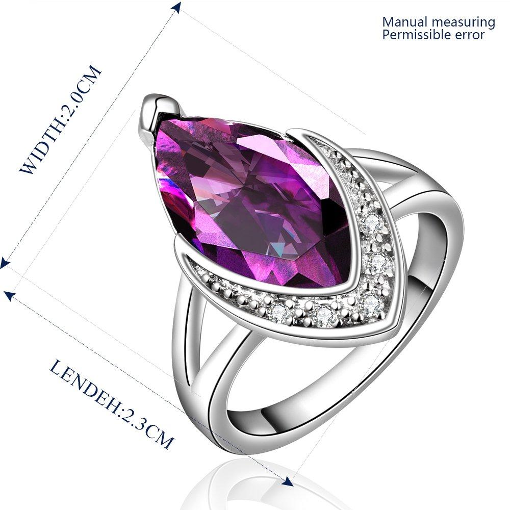 Platinum diamond shaped purple zircon luxury ring R007