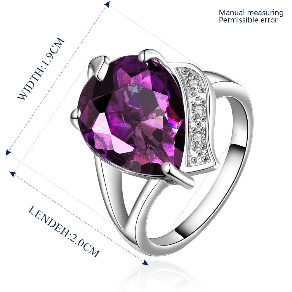 Platinum diamond shaped purple zircon luxury ring R009