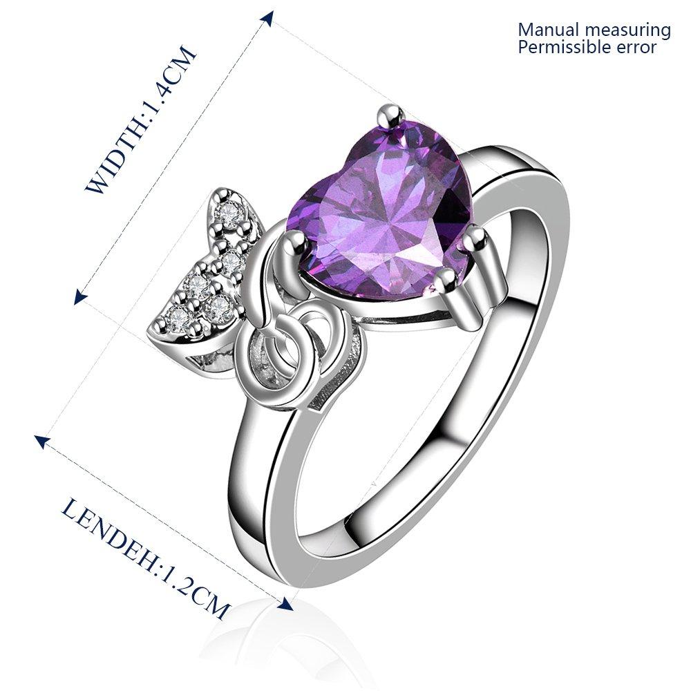 Platinum diamond shaped purple zircon luxury ring R010