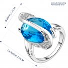 Platinum diamond shaped pure blue zircon luxury ring R004