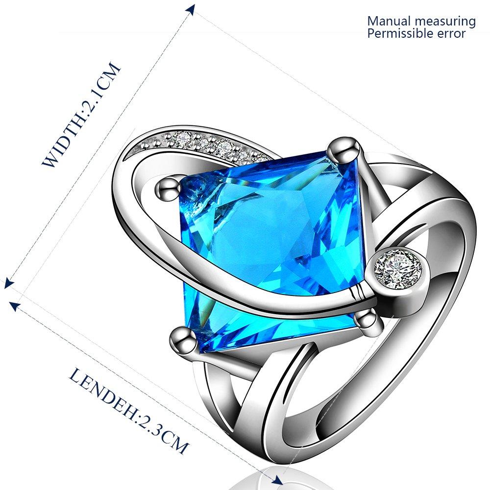 Platinum diamond shaped pure blue zircon luxury ring R005