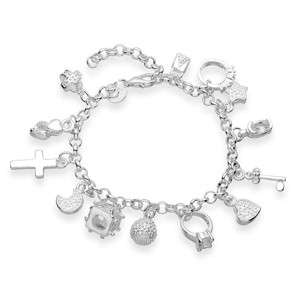 H144 Free shipping 925 silver plated bracelet,8 inches ,25g