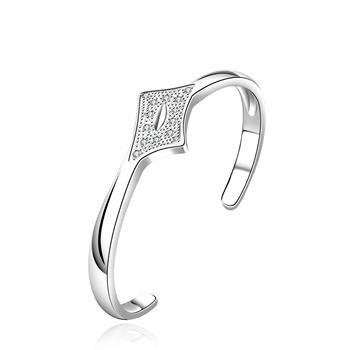 B209 Free shipping 925 silver plated bangle,zircon inlay