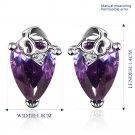 Platinum diamond shaped purple zircon luxury Earrings