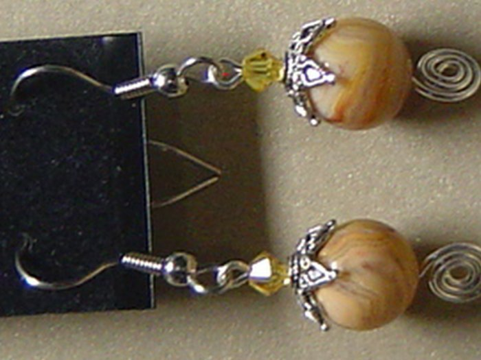 SWAROVSKI CRYSTALS & CRAZYLACE AGATE Gemstones Earrings