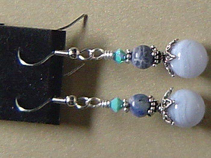 BLUELACE AGATE & SODALITE Gemstones Earrings