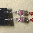 SWAROVSKI CRYSTAL & RHODONITE Gemstones Earrings
