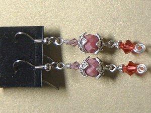 SWAROVSKI CRYSTAL & RHODONITE Gemstones Earrings