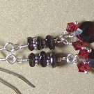 SWAROVSKI CRYSTALS & GARNET Gemstones Earrings