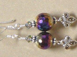 RAINBOW QUARTZ Gemstones & MARCASITE CHARM Earrings