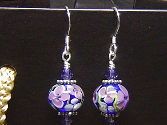 PURPLE FLOWERS Lampwork Glass Beads Earrings - KM
