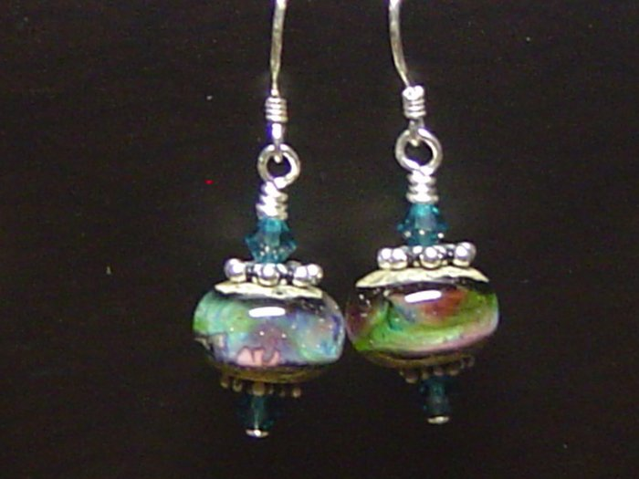 TWILIGHT WAVES Lampwork Glass Beads Earrings - KM