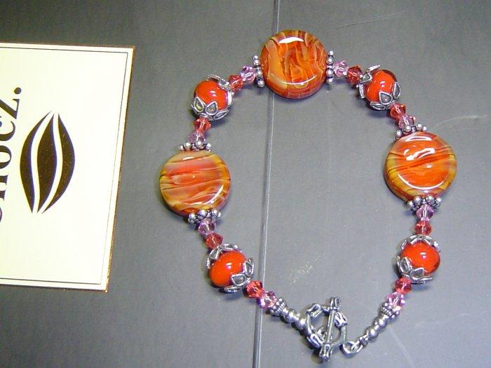 HOT DESERT Lampwork Lozenges Glass Beads Bracelet - KM