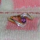 10K Yellow Gold Ring with Amethyst & Diamonds Gemstones