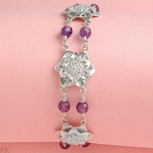Sterling Silver Flower Bracelet with Faceted Amethyst Gemstones