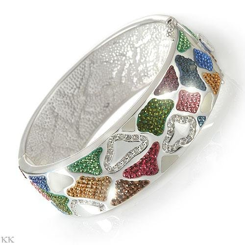 Sterling Silver Bangle with Rainbow Colors Crystals