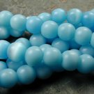 Light Blue Cats Eye Beads (8mm) Round, 15 Inch Strand