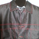 Black Denim Jean Jacket Mens Coat Webs LARGE Trucker