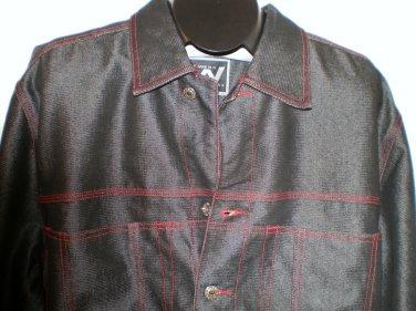 Black Denim Jean Jacket Mens Coat Webs LARGE Trucker