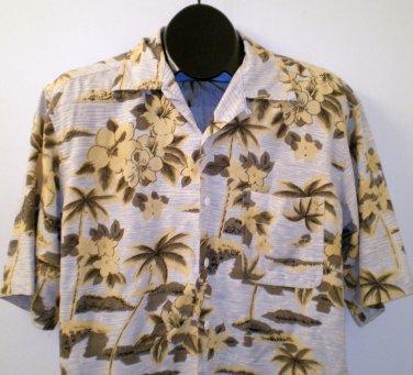 Mens Silk Icon Button Front Camp Shirt Size Medium