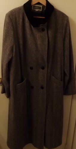 Vintage Plus Size Womens Abbmoor Full Length Trench Coat Wool Blend Gray Size 22W