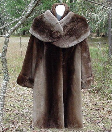 Very Vintage Long Mouton Coat with Stole/Cape/Shawl Collar Muff!