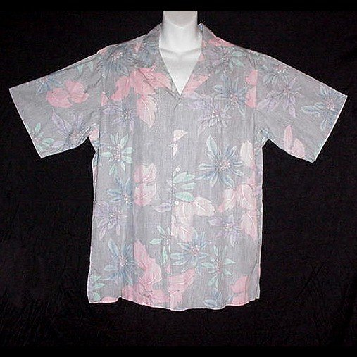 HAWAIIAN SHIRT Hawaii Traditionals Designer REYN SPOONER Floral GRAY BLUE PURPLE Men's Size L!