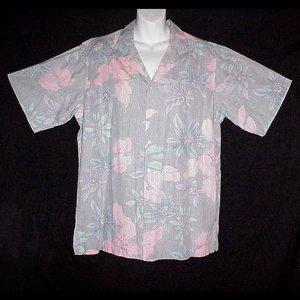 HAWAIIAN SHIRT Hawaii Traditionals Designer REYN SPOONER Floral GRAY BLUE PURPLE Men's Size L!