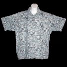 VLV HAWAIIAN SHIRT Designer KAHALA Tapa FISH Reverse Print GRAY BLUE WHITE Men's Size L!