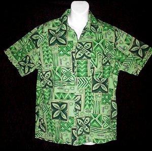 Vintage 50's HAWAIIAN SHIRT Green CLASSIC FLORAL ALOHA Print COTTON VLV Men's Size S to M!