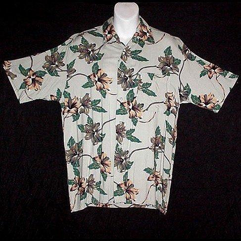 HAWAIIAN SHIRT Classic Green TROPICAL BLOSSOMS Floral Print ALOHA Men's Size S!