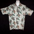 HAWAIIAN SHIRT Classic Green TROPICAL BLOSSOMS Floral Print ALOHA Men's Size S!