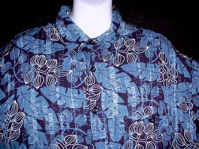 VLV! HAWAIIAN SHIRT Classic Blue TROPICAL Floral Print ALOHA Men's Size L!