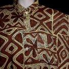 RARE SURFER Vintage 50's HAWAIIAN Shirt CLASSIC ALOHA TIKI Tribal Floral Print COTTON VLV Size L!