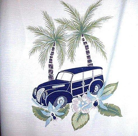 HAWAIIAN SHIRT Exquisite Styling VINTAGE WOODY BEACH SCENE Quality Island ALOHA Sz M NEW!