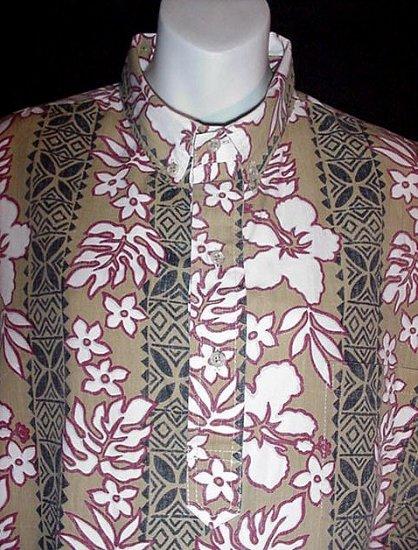 VINTAGE HAWAIIAN SHIRT VLV Tiki Hawaii ISLAND TRADITIONS Floral TRIBAL Print TAN WHITE Sz XL!