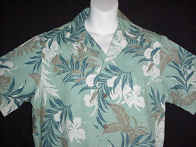 VINTAGE HAWAIIAN SHIRT Green Blue ISLANDS Made in HAWAII Floral REVERSE Print Men's Size S!