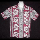 VINTAGE 60s HAWAIIAN SHIRT Tiki Vertical Borders HAWAII MADE w/FLORAL Print Men's SURFER Sz M!