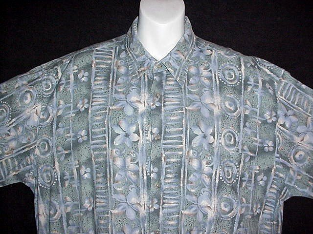 HAWAIIAN SHIRT Tropical Tiki Floral NORDSTROM'S BURMA BIBAS Watercolor ALOHA Print Men's L!