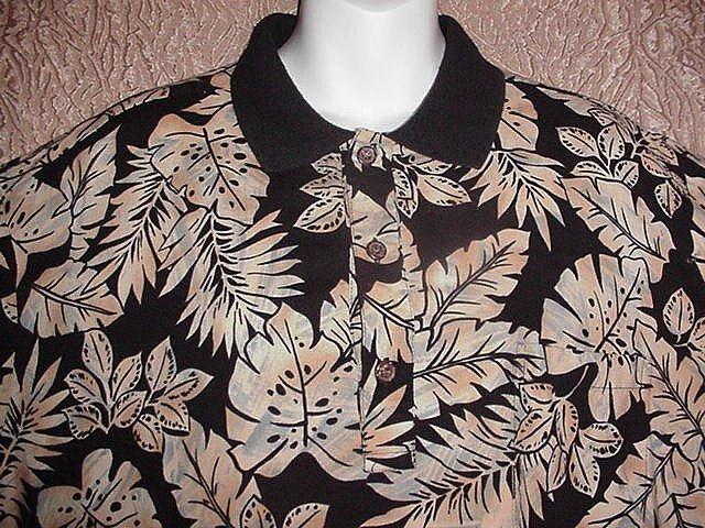 HAWAIIAN SHIRT Black & Tan TORI RICHARDS of HAWAII Floral ALOHA Print VISCOSE Men's Size XL!