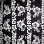 VINTAGE 80s HAWAIIAN SHIRT Vertical Borders SURFWAVES Black & White FLORAL Print Men's Size L!