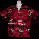 HAWAIIAN SHIRT Tropical -= BEACH at SUNSET =- Palms NATIVE Hula Girls Print BLAZING COLORS Sz L!