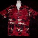 HAWAIIAN SHIRT Tropical -= BEACH at SUNSET =- Palms NATIVE Hula Girls Print BLAZING COLORS Sz L!
