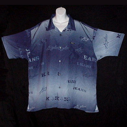 BIG and TALL SHIRT New York AUTHENTIC KANI JEANS Los Angeles Multi BLUE KARL Men's Size 3XL/3X!