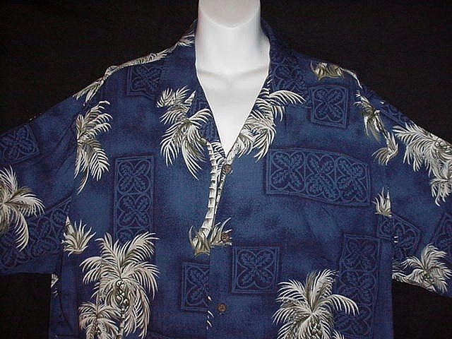 HAWAIIAN SHIRT Classic Tiki Tropical -= RJC KALAHEO PALM TREES =- Print ALOHA HAWAII Men's XL!